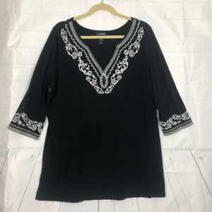 Lane Bryant Tunic Black Embroidered Sz 14/16W